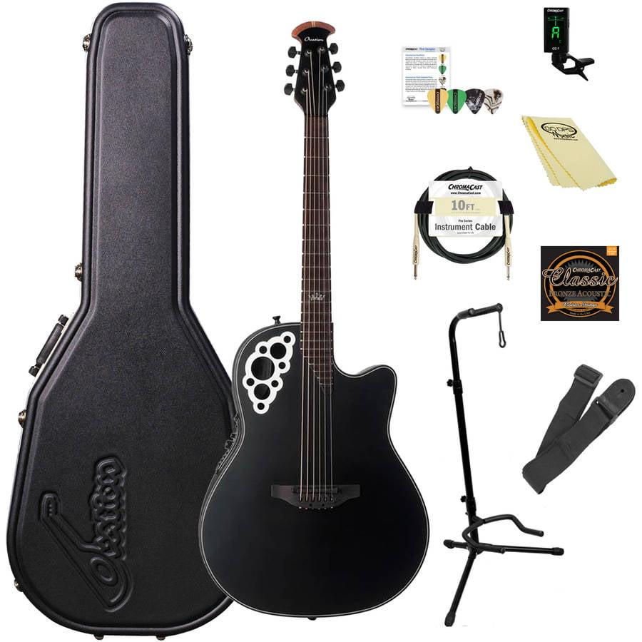 Ovation Kaki King Signature Elite 2078-KK Acoustic-Electric Guitar (Satin Black) with ChromaCast Accessories