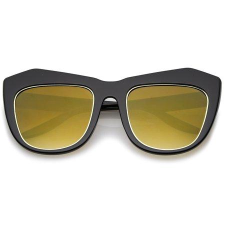 eddbbb22099 sunglass.la - sunglassLA - Oversize Chunky Frame Square Colored Mirror Lens  Cat Eye Sunglasses 56mm - 56mm - Walmart.com
