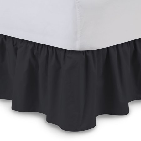 Harmony Lane Ruffled Bed Skirt - 14 Inch Drop, Cal-King, Black - Poly/Cotton Dust Ruffle with Platform (Small Red Buckets)