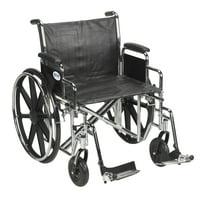 "Drive Medical Sentra EC Heavy Duty Wheelchair, Detachable Desk Arms, Swing away Footrests, 24"" Seat"