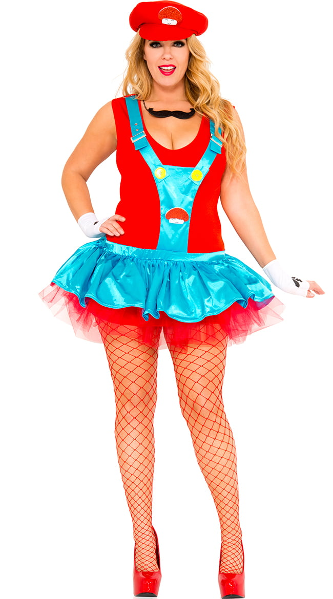 plus size red playful plumber costume plus size red italian plumber costume walmartcom
