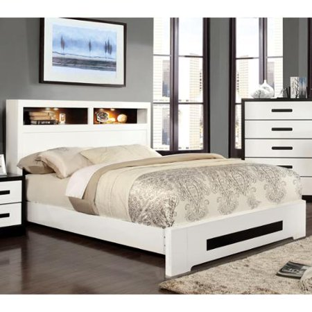 furniture of america kize contemporary two tone platform bed with light up bookcase. Black Bedroom Furniture Sets. Home Design Ideas