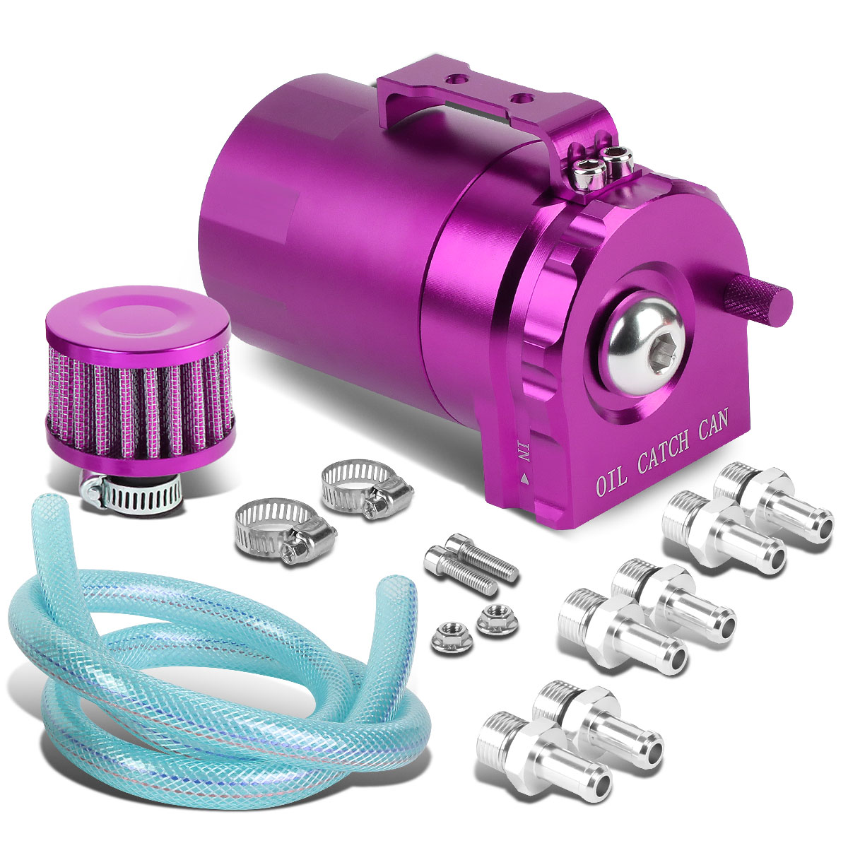 Univeral Aluminum Cylinder Style Racing Oil Catch Tank + Filter Can - Purple Tank + Filter