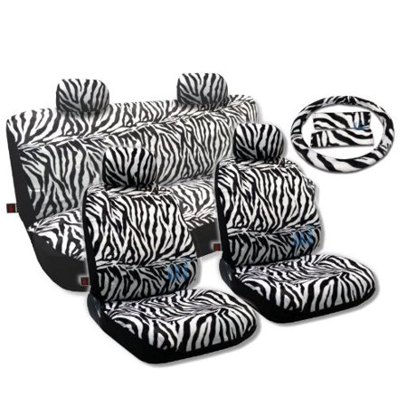 Animal Print Seat Covers Universal Sedan 13Pc Front Pair Bench Steering Wheel For Honda Accord