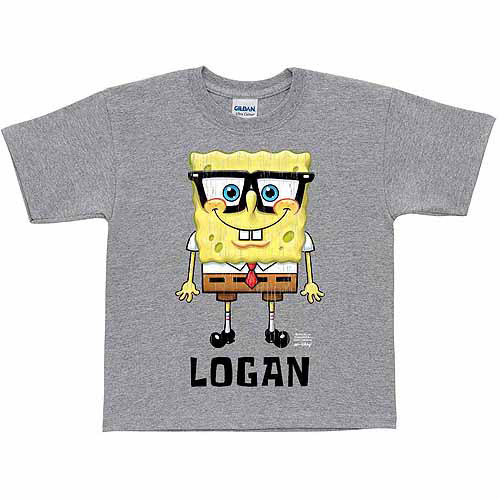 Personalized SpongeBob SquarePants Glasses Boys' Gray T-Shirt