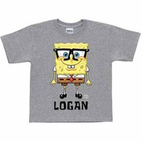 Personalized SpongeBob SquarePants Glasses Boys' Gray T-Shirt