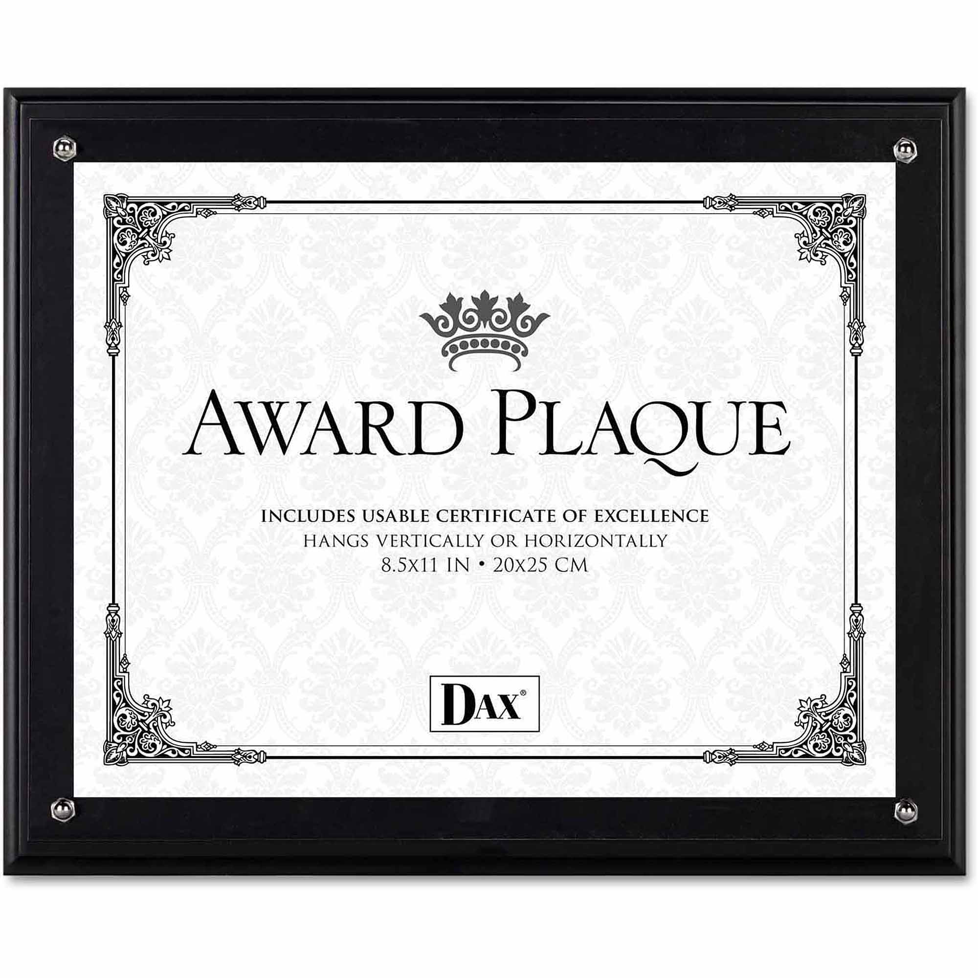 """DAX Award Plaque, Wood/Acrylic Frame, Fits up to 8-1/2"""" x 11"""", Black"""