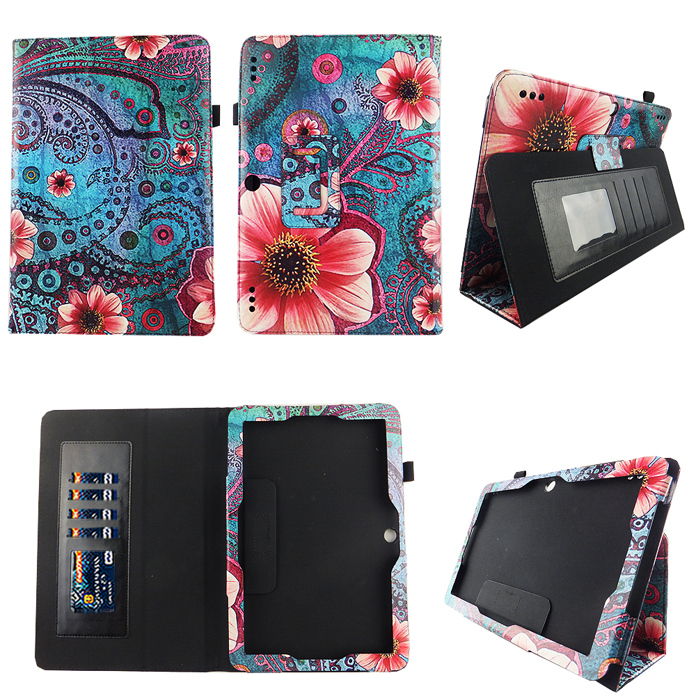 Pink Flower Paisley Insignia Flex 10.1 Inch Tablet NS-P10A7100 Case Slim Fit Premium Pu Leather Folio Stand Case Cover w Stylus Holder ID Slots Android Tablet