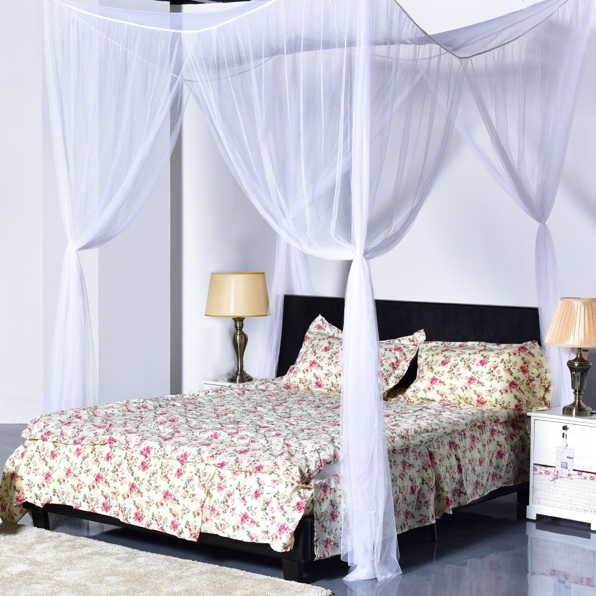 4 Corner Post Bed Canopy Mosquito Net Full Queen King Size Netting Bedding (White) & Canopy Curtains