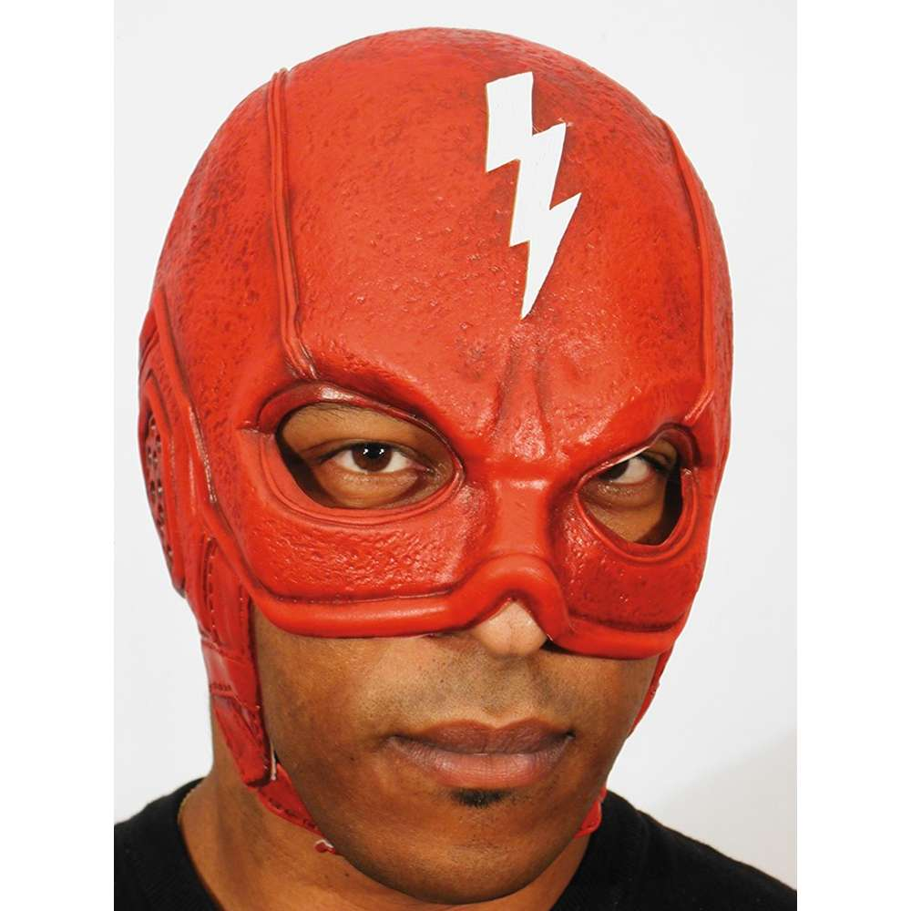 Red Thunderbolt Superhero Mask Headpiece