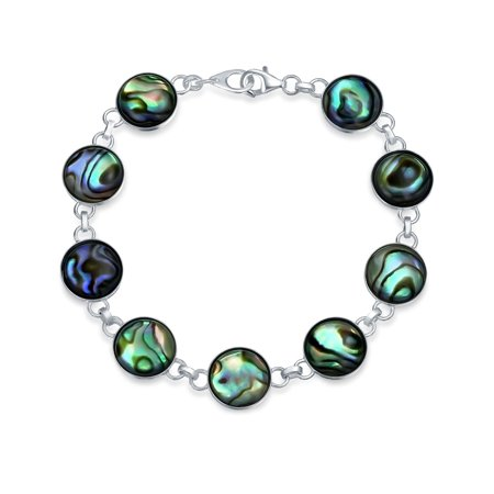 Round Circle Disc Rainbow Abalone Shell Inlay Link Bracelet For Women For Teen 925 Sterling Silver