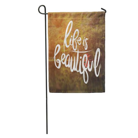 LADDKE Inspirational Life is Beautiful of Water Drops Shallow Depth Garden Flag Decorative Flag House Banner 28x40 -