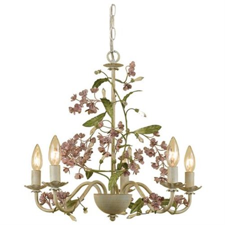 "Elements/7045-5H Grace Chandelier, 5-60W Candle Bulbs, 18.5""HX20""W, Hardwire or Swag"