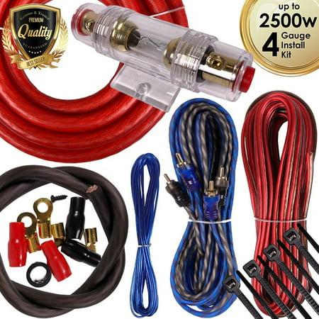Car Amp Wiring Diagram - Complete 2500W 4 Gauge Car Amplifier Installation Wiring Kit Amp PK1 4 Ga Red