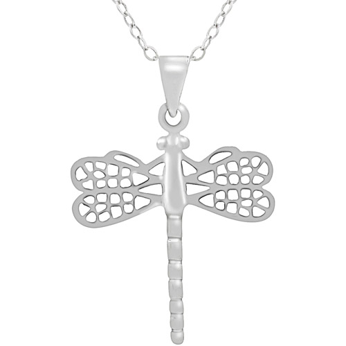 Brinley Co. Sterling Silver Dragonfly Pendant, 18""