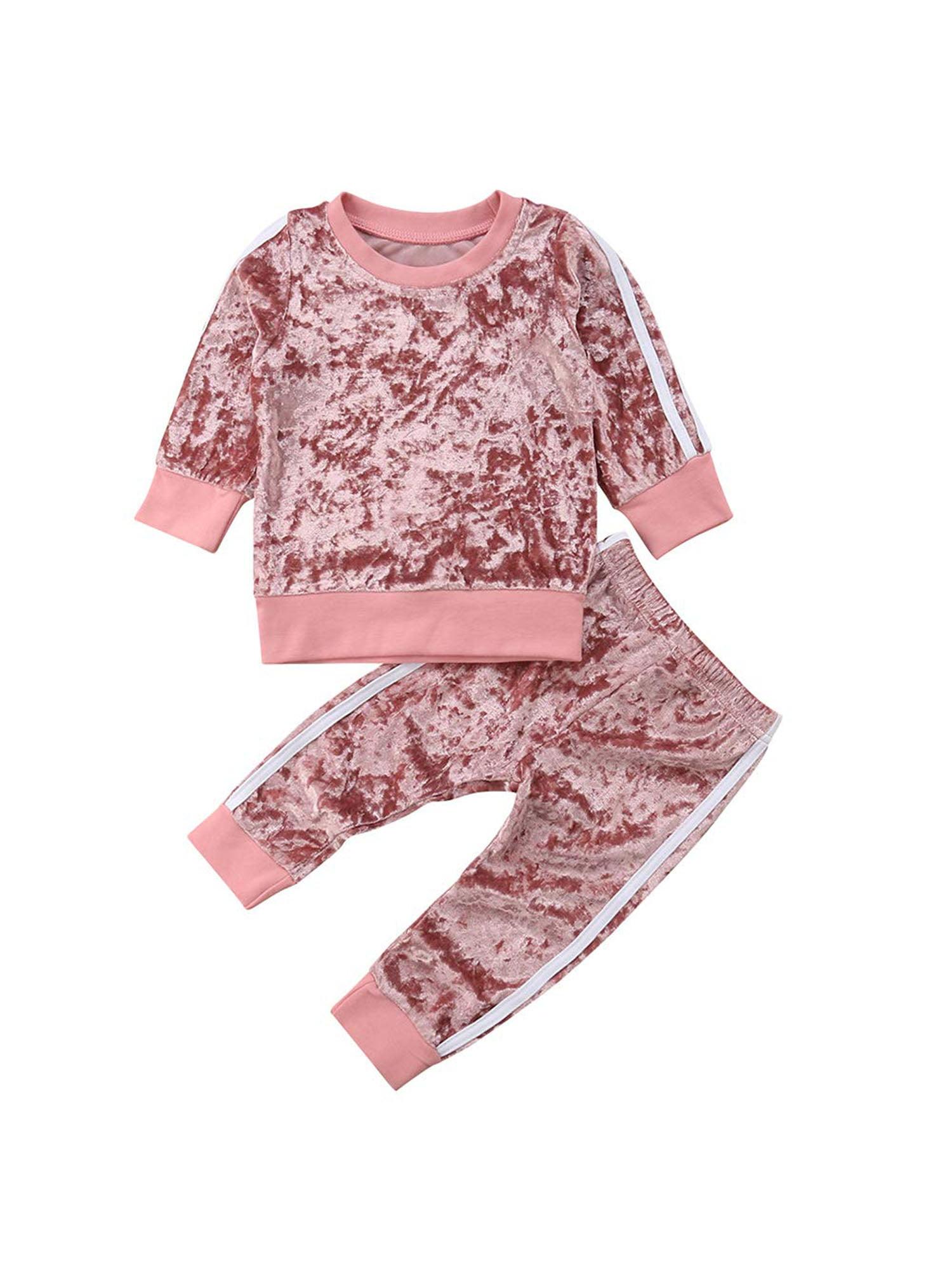 Suanret Suanret Kids Baby Girls Winter Warm Velvet Tops Pants Leggings Casual Outfits Walmart Com Walmart Com