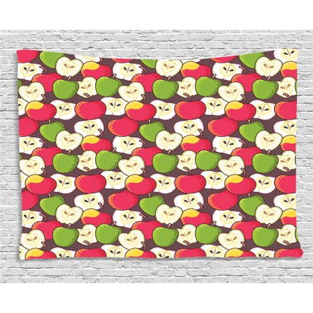Apple Tapestry, Abstract Red and Green Varieties of Winter Fruits Juicy Vitamin Sources Fresh Food, Wall Hanging for Bedroom Living Room Dorm Decor, 80W X 60L Inches, Multicolor, by (Best Food Sources Of Vitamin K)