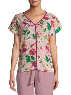 Bobeau Women's Floral Blouse with Piping