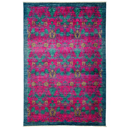 solo rugs one of a kind arts and crafts hand knotted pink blue area rug. Black Bedroom Furniture Sets. Home Design Ideas