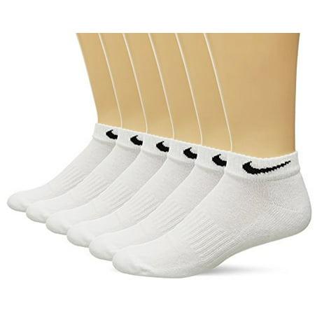 NIKE Unisex Performance Cushioned Low Rise Socks (6 Pairs), White, Large ()