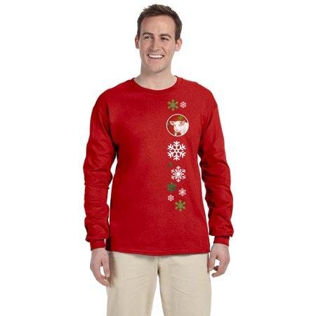 Carolines Treasures SB3125-LS-RED-2XL Pig Red Snowflakes Long Sleeve Red Unisex Tshirt - 2 Extra Large