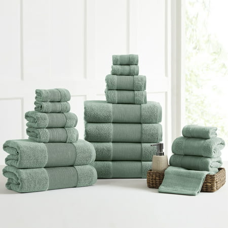 AirCloud 18 Piece 100% Cotton Towel Set - Green ()