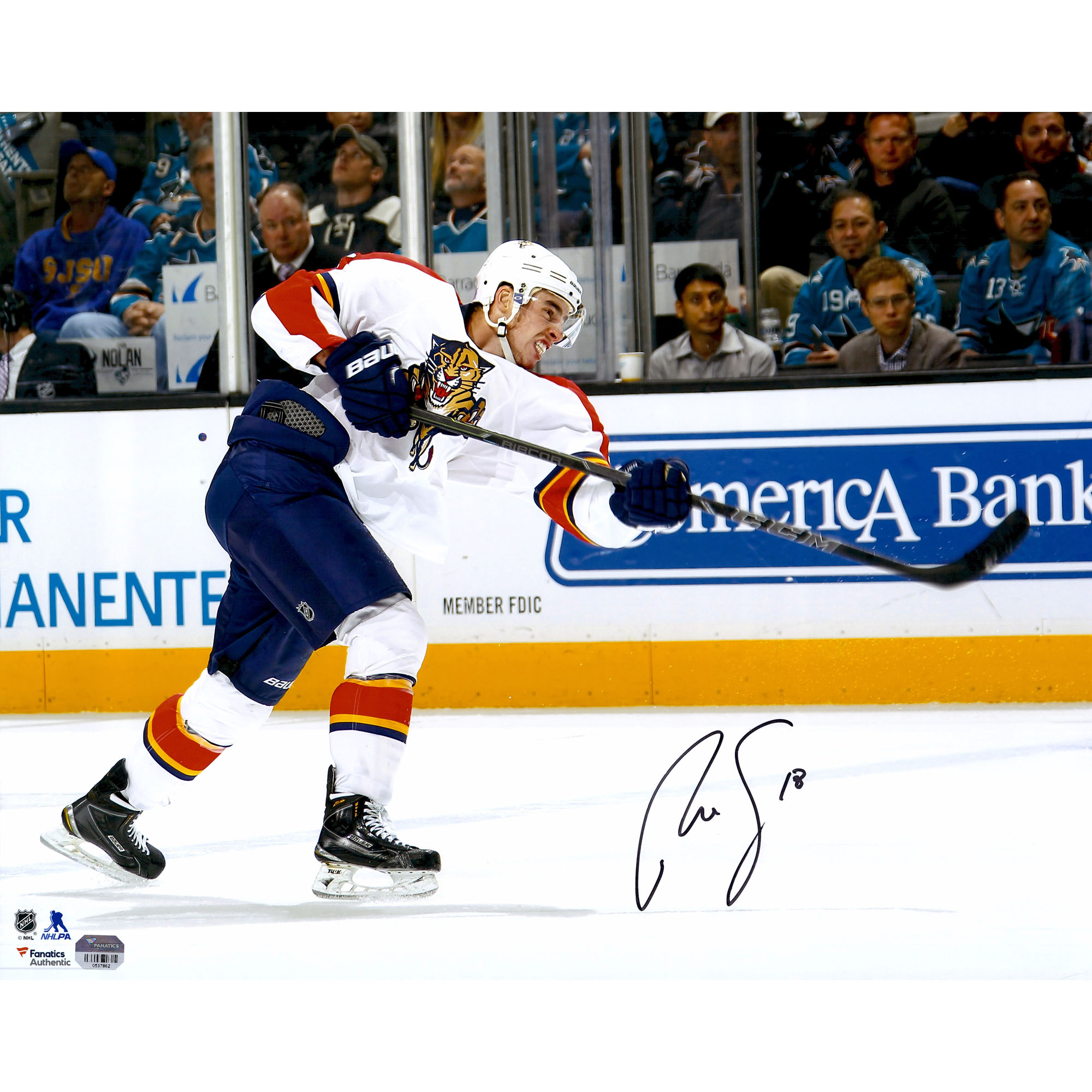 """Reilly Smith Florida Panthers Fanatics Authentic Autographed 16"""" x 20"""" White Jersey Shooting Photograph - No Size"""