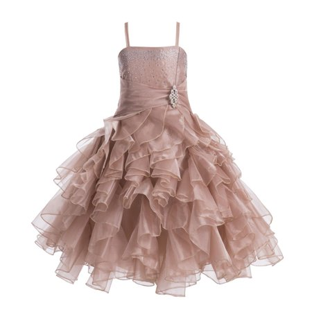 a0d57f0a1 ... Organza Layers Flower Girl Dress Junior Bridesmaid Recital Easter  Holiday Gown Birthday Girl Dress Communion Formal Clothing Baptism 164s Rose  Gold 4