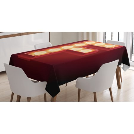 Letter F Tablecloth, Capital F Typescript Nightlife Disco Clubs Casino Movie Theater Font Print, Rectangular Table Cover for Dining Room Kitchen, 52 X 70 Inches, Ruby Yellow Black, by - Casino Table Covers