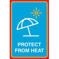 Protect From Heat Print Sun Beach Umbrella Picture Outdoor Beach Pool Sign