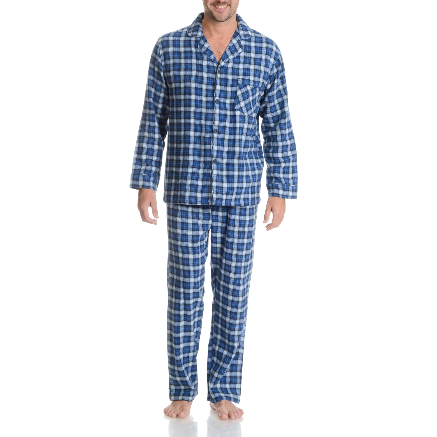 Hanes  Men's Blue Plaid Cotton 2-piece Woven Flannel Paja...