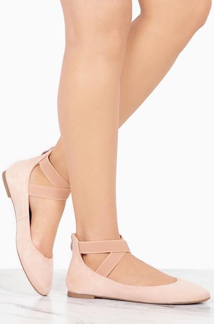 ANNA Dana-20 Womens Classic Ballerina Flats with Elastic Crossing Straps