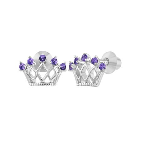925 Sterling Silver CZ Princess Crown Screw Back Earrings Little Girls