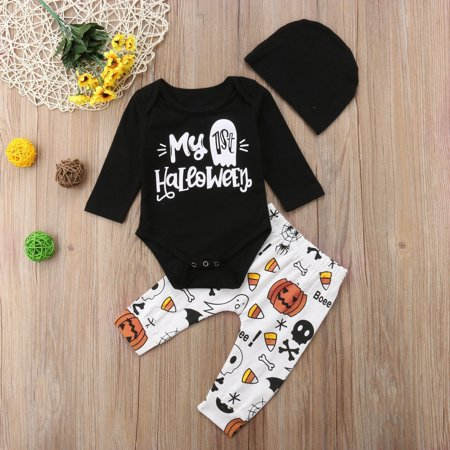 3Pcs Cute Infant Newborn Baby Girl Boy Halloween Clothes Long Sleeve Romper+Pumpkin Pants with Hat Outfits Set 70/0-3 Months - Newborn Girl Halloween Outfits