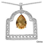 Sterling Silver Genuine Gemstone Pendant Necklace Citrine - Yellow