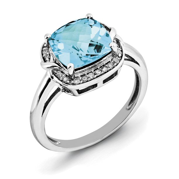 Primal Silver Sterling Silver Rhodium Diamond and Checker-Cut Sky Blue Topaz Ring