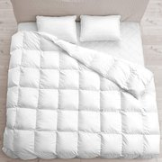 queen comforter (white, queen) duvet insert grey- down alternative comforter, hypoallergenic, plush siliconized fiberfill, box stitched, protects against dust (full/queen 88-by-88 inch,white)