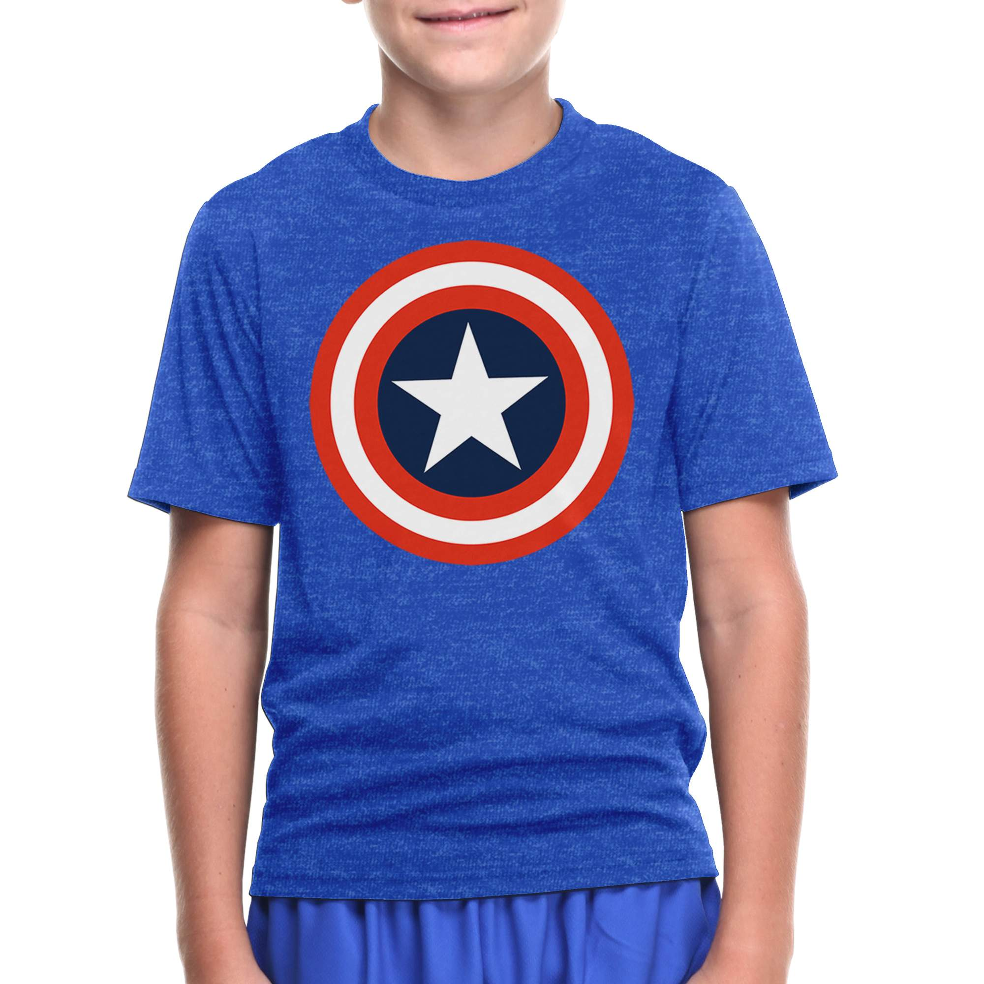 Marevl Captain America Logo Boys' Blue Short Sleeve Graphic Tee
