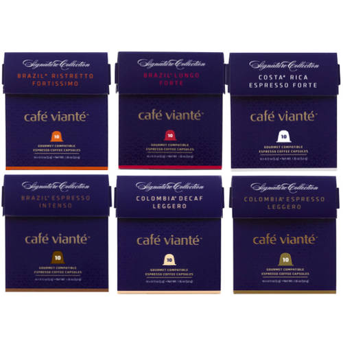 cafe viante signature collection variety pack coffee capsules 60pk nespresso compatible