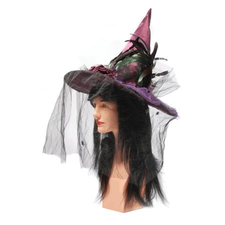 Loftus Fashion Pointed Witch Hat w Rose Feathers & Black Veil, Purple, One-Size