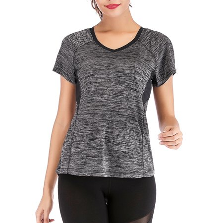 Outdoor Quick Dry T-Shirt Womens Athletic Tops Gym Workout Exercise Fitness Moisture Wicking Running Yoga
