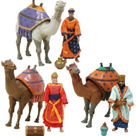 Birth of Jesus Three Wisemen and Camels Action Figure Set