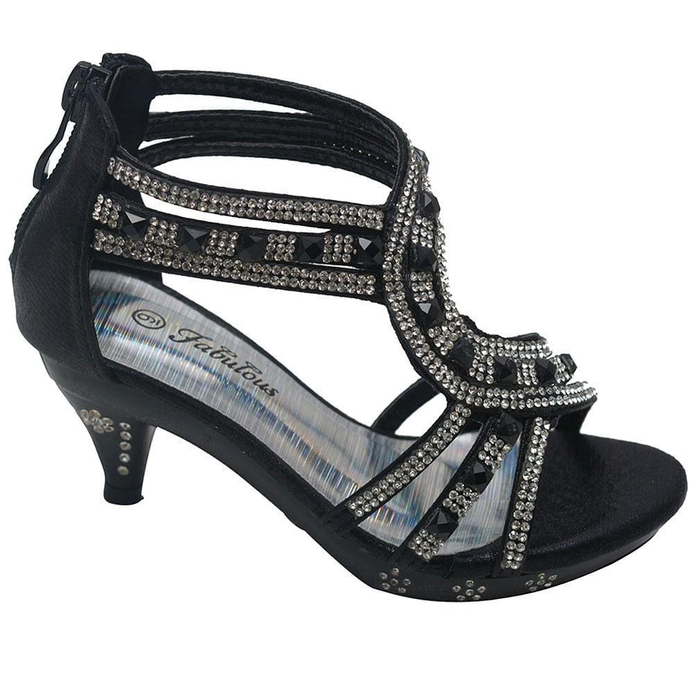 349b605cba197f Fabulous - Forever Glamour-28 Kids Rhinestone Flower Sparkling Bling Heel  designed Dress Sandals - Walmart.com