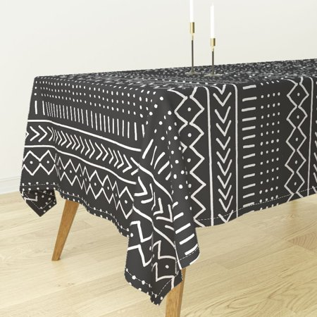Tablecloth African Tribal Black White Lines Dots Arrows Cotton