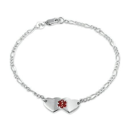 Heart Shape Medical Identification Doctors Engravable Medical Alert ID Bracelet For Women For 925 Sterling Silver (Engravable Medical Id Bracelet)