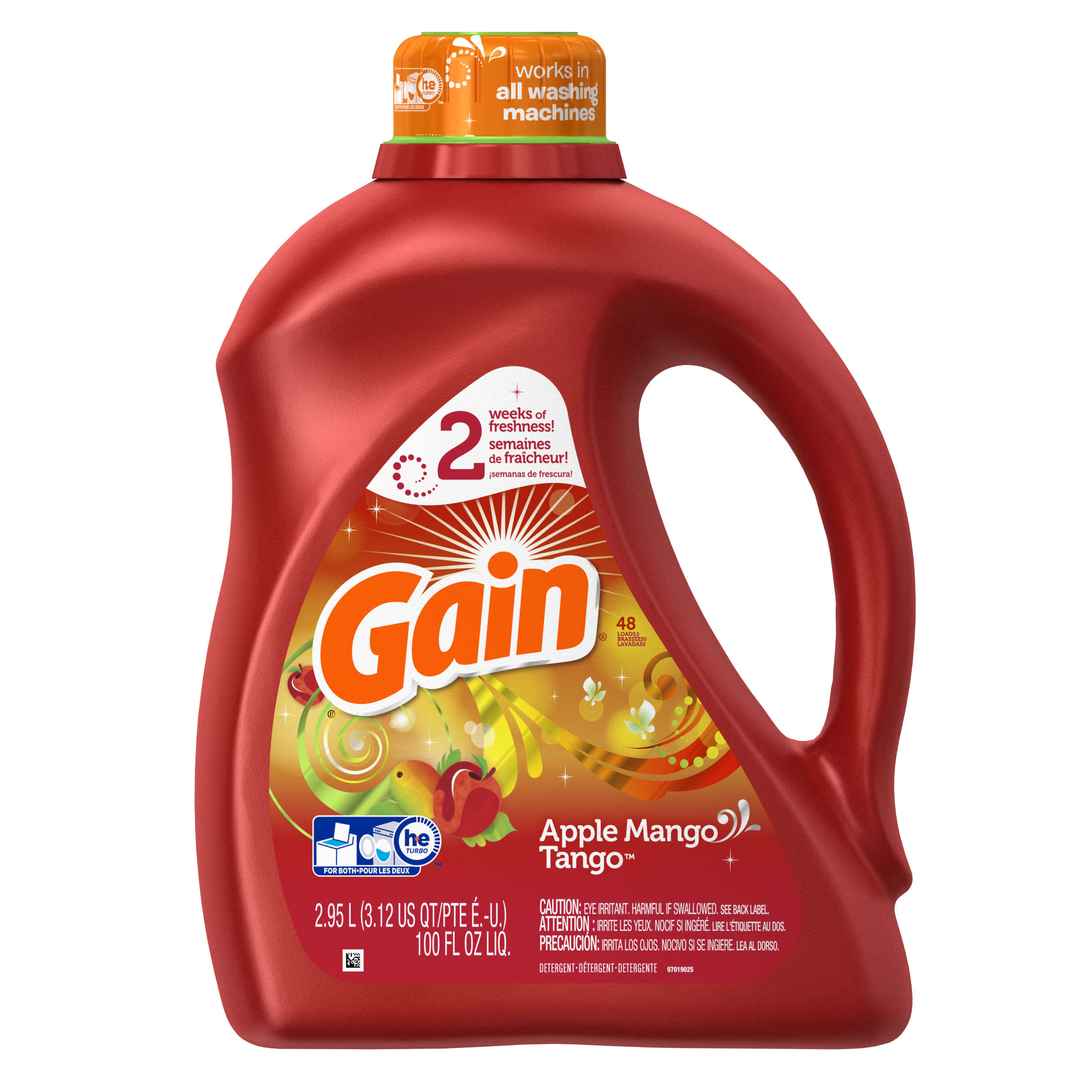 Gain Liquid Laundry Detergent, Apple Mango Tango Scent, 48 loads, 100 oz