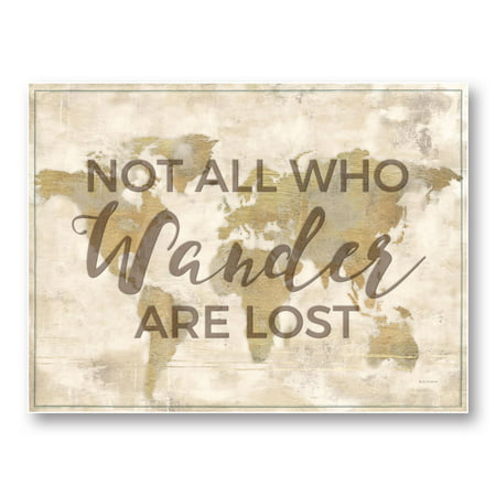 "Inspirational ""Not All Who Wander Are Lost"" Map by Marie Elaine Cusson; One 14x11in Unframed Paper Poster"