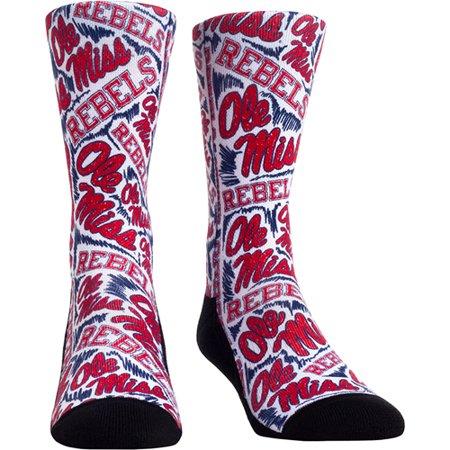 Ole Miss Rebel Shop (Ole Miss Rebels Logo Sketch Crew Socks - - L/XL )