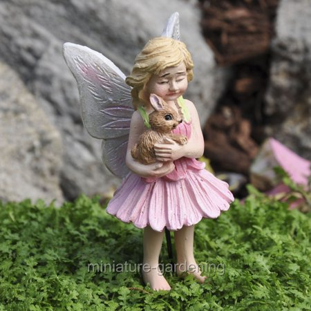 Miniature Blossom the Fairy and Bunny, with Pick for Miniature Garden, Fairy Garden (Fairy Blossom)