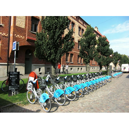 Canvas Print Bike Station City Bikes Bicycle Rental Bicycles Stretched Canvas 10 x 14 (Party City Rental)